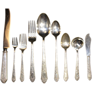 Lunt Sterling Silver Treasure Flatware Mary II Set 3208 Grams 119 pieces