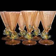 Venetian Six Tall Wine Stems Hand Blown Glasses early 20th century