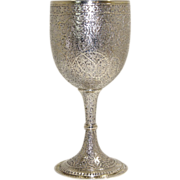 Indian Kashmir Sterling Silver Hand Engraved/Chased Goblet late 19th century
