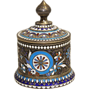 SOLD Russian Gilt Silver & Champleve Enamel Round Box 84 Standard