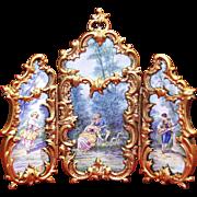 SOLD Austrian Viennese Enamel Plaques Triptych Gilt Bronze Screen late 19th century