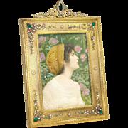 Art Nouveau French Gilded Bronze Rhinestone Decor Picture Frame Retailed Benjamin Altman & Co.
