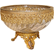Baccarat Clear Swirling Glass & Brass Ormolu Footed Bowl/Center-Piece Depose early 20th centur