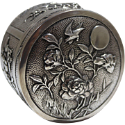 Chinese Sterling Silver Box Chased & Repousse Floral Motif by Woshing Shanghai C. 1890s