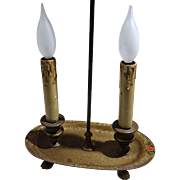 Louis C. Tiffany Furnaces Inc, Favrile Enamel Patinated Bronze Double Light Lamp