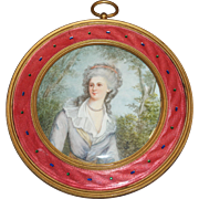 French Pink Color Guilloche Enamel & Gilt Bronze Frame Painted Plaque of Lady 1880s