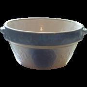 SOLD Vintage blue stoneware milk bowl,  berry and leaf design