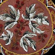 19th Century English Decorative Beaded Cherries Stool