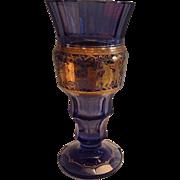 Violet Moser Tall Vase with Mythological Figures in Gold Overlay