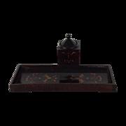 SALE Scottish Black Lacquered Mauchline Desk Set
