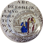 ABC Plate, Brownhills Pottery, Nations of the World Plate, c.1880's