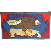 1940's Patriotic Hooked Rug with Eagle