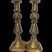 "19th Century English Brass Push Up Candlesticks, 14"" Tall!"