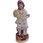 LARGE Victorian Staffordshire Figure-Girl With Wheat-Circa 1880's