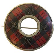 "SOLD 19th Century Scottish Tartanware Brooch, ""Prince Charlie""plaid. - Red Tag Sale"