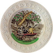 Victorian Staffordshire Child's A B C Plate-Boating Party