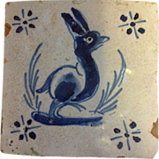 17th or Early 18th Century Delft Tile-Stylized Animal