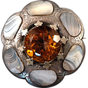 Large Scottish Victorian Agate, Citrine, & Sterling Brooch