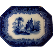 "19th Century Flow Blue Platter, ""Leipsic"" Pattern by Clementson"
