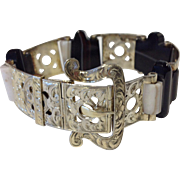 Beautiful Victorian Scottish Agate & Sterling Buckle Bracelet