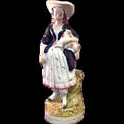 Victorian Staffordshire Figurine, Girl with Sheep