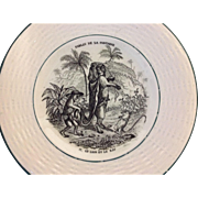 Vintage Child's French Fable Plate....Le Lion Et Le Rat
