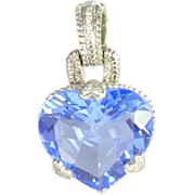 SALE Vintage Blue Quartz Diamond & 18kt White Gold Heart Pendant