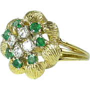 REDUCED 1980s Emerald Diamond & 18kt Gold Cluster Ring