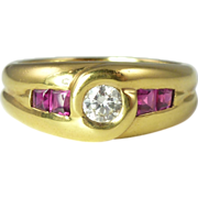 SALE Vintage French Diamond Ruby & 18kt Gold Band Ring