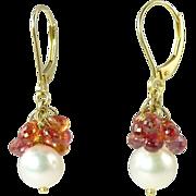 SALE Fabulous Vintage Orange Sapphire Cultured Pearl & 18kt Gold Drop Earrings