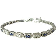 SALE Exquisite 1.93cttw Sapphire Diamond & 14kt White Gold Line Bracelet