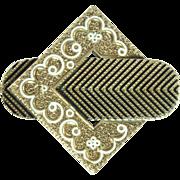 SALE Victorian Taille D'Epargne Enamel & 14kt Gold Pendant/Brooch