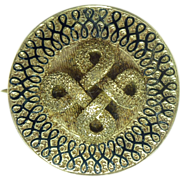Victorian Taille D'Epargne Enamel & 14kt Gold Infinity Motif Pendant/Brooch