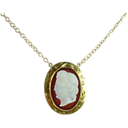 SALE Victorian Sardonyx & 14kt Gold Cameo Pendant & Chain