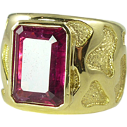 Dramatic 1980s 10.30ct Rubellite & 18kt Gold Woman's Wide Band Ring by Andrew ...