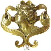 REDUCED Art Nouveau Mabe Pearl & 10kt Gold Brooch/Pin