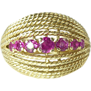 Circa 1980s 0.80cttw Natural Ruby & 14kt Gold Bombe Shaped Ring