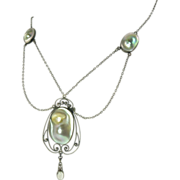 American Art Nouveau Abalone Blister Pearl Moonstone & Sterling Silver Necklace by Foster