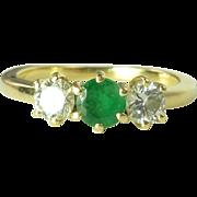 Sparkling Vintage 0.57cttw Emerald Diamond & 18kt Gold Three Stone Ring
