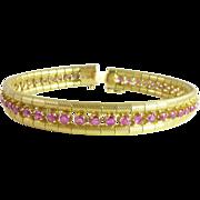 SALE Vintage 3.84ct tw Ruby & 18kt Gold Line Bracelet