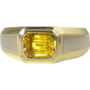 Vintage Yellow Sapphire & Two-Tone 18kt Gold Ring -- Over 1/3 oz of Gold