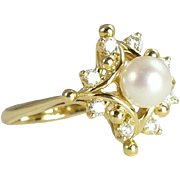 Spectacular Vintage Pearl Diamond & 18kt Gold Cocktail Ring