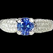 Vintage Cornflower Blue 1.00ct Sapphire Diamond & 18kt Gold Ring by Jabel