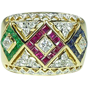 Glamorous Vintage Ruby Emerald Sapphire Diamond & 18kt Gold Band Ring