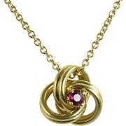 SALE Vintage Tiffany & Co. 18kt Gold Chain With Ruby & 18kt Gold Knot Pendant