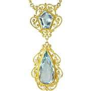 Exquisite Belle Epoque Aquamarine, Seed Pearl, & 14kt Gold Lavaliere Necklace