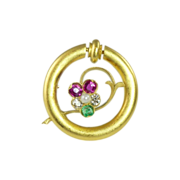 SALE Art Nouveau Diamond Emerald Pink Sapphire Pearl & 14kt Gold Pin