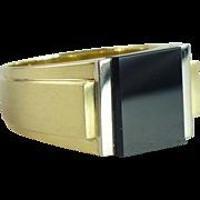 SALE Vintage Black Onyx 14kt Gold Man's Signet Ring