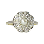 REDUCED Classic Edwardian Pearl Diamond & Platinum-Topped 14kt Gold Dinner Ring