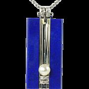 REDUCED Classic Art Deco Lapis Lazuli Pearl Diamond & 18kt White Gold Pendant & Chain